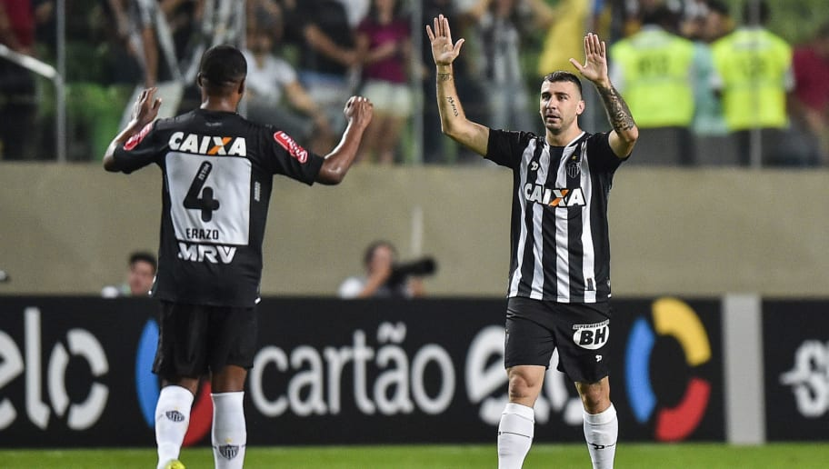 BELO HORIZONTE, BRAZIL - NOVEMBER 17: Lucas Pratto #9 of Atletico MG celebrates a scored goal against Palmeiras during a match between Atletico MG and Palmeiras as part of Brasileirao Series A 2016 at Independencia stadium on November 17, 2016 in Belo Horizonte, Brazil. (Photo by Pedro Vilela/Getty Images)
