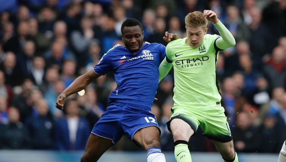 Manchester City's Belgian midfielder Kevin De Bruyne vies with Chelsea's Nigerian midfielder John Obi Mikel (L) during the English Premier League football match between Chelsea and Manchester CIty at Stamford Bridge in London on April 16, 2016. / AFP / Adrian DENNIS / RESTRICTED TO EDITORIAL USE. No use with unauthorized audio, video, data, fixture lists, club/league logos or 'live' services. Online in-match use limited to 75 images, no video emulation. No use in betting, games or single club/league/player publications.  /         (Photo credit should read ADRIAN DENNIS/AFP/Getty Images)