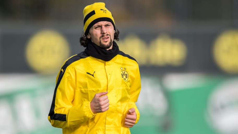 DORTMUND, GERMANY - NOVEMBER 01: Neven Subotic of Dortmund warms up during a training session ahead of their Champions League match against Sporting CP at Dortmund Brackel Training Ground on November 1, 2016 in Dortmund, Germany. (Photo by Lukas Schulze/Bongarts/Getty Images)
