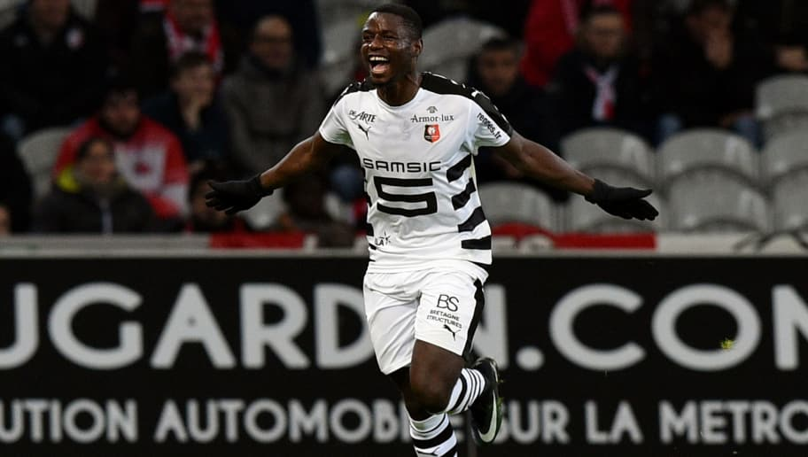 Rennes' French-Cameroonian forward Paul-Georges Ntep celebrates after scoring a goal  during the French L1 football match between Lille (LOSC) and Rennes (SRFC) at the Pierre-Mauroy Stadium in Villeneuve d'Ascq, near Lille, northern France, on December  21, 2016. / AFP / DENIS CHARLET        (Photo credit should read DENIS CHARLET/AFP/Getty Images)
