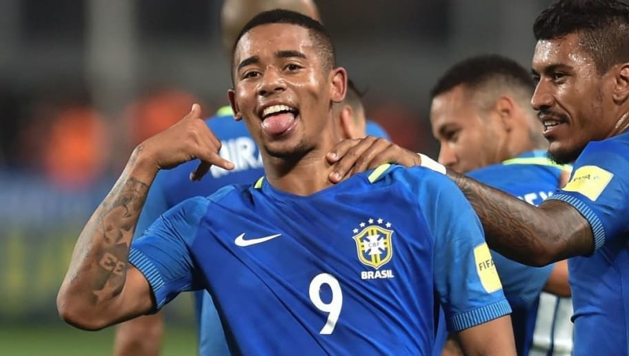 Brazil's Gabriel Jesus (L) celebrates after scoring against Peru during their 2018 FIFA World Cup qualifier football match in Lima, on November 15, 2016. / AFP / LUKA GONZALES        (Photo credit should read LUKA GONZALES/AFP/Getty Images)