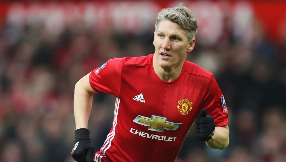 MANCHESTER, ENGLAND - JANUARY 07:  Bastian Schweinsteiger of Manchester United in action during the Emirates FA Cup third round match between Manchester United and Reading at Old Trafford on January 7, 2017 in Manchester, England.  (Photo by Mark Thompson/Getty Images)