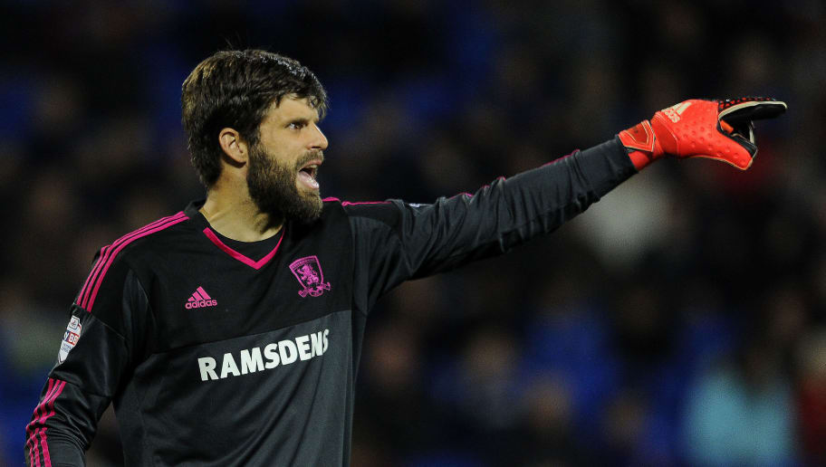 CARDIFF, WALES - OCTOBER 20: Dimitrios Konstantopoulos of Middlesbrough during the Sky Bet Championship match between Cardiff City and Middlesbrough at the Cardiff City Stadium on October 20, 2015 in Cardiff, Wales.  (Photo by Harry Trump/Getty Images)
