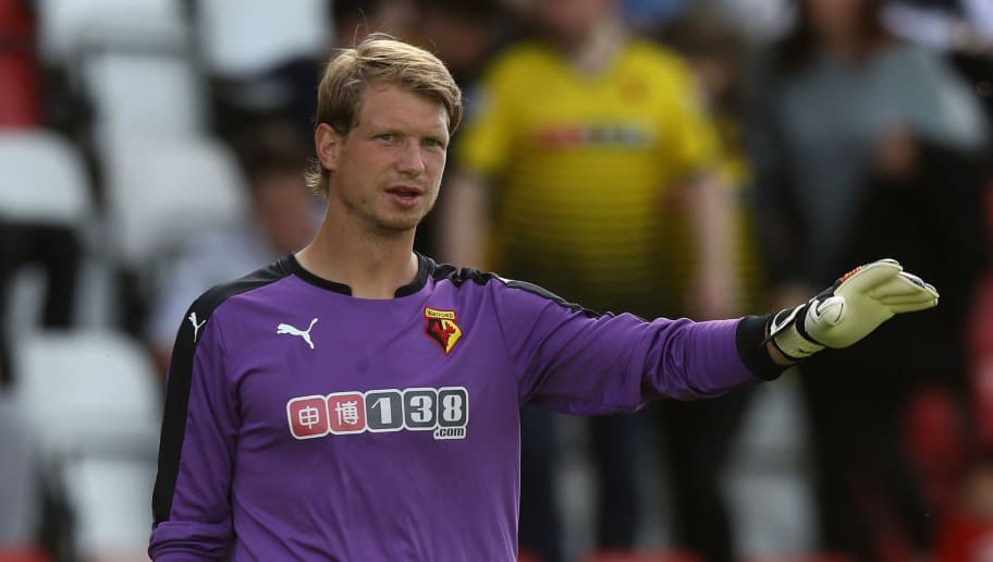 WOKING, ENGLAND - JULY 10:  Giedrius Arlauskis of Watford looks on during the pre season friendly match between Woking and Watford at The Laithwaite Community Stadium on July 10, 2016 in Woking, England.  (Photo by David Rogers/Getty Images)