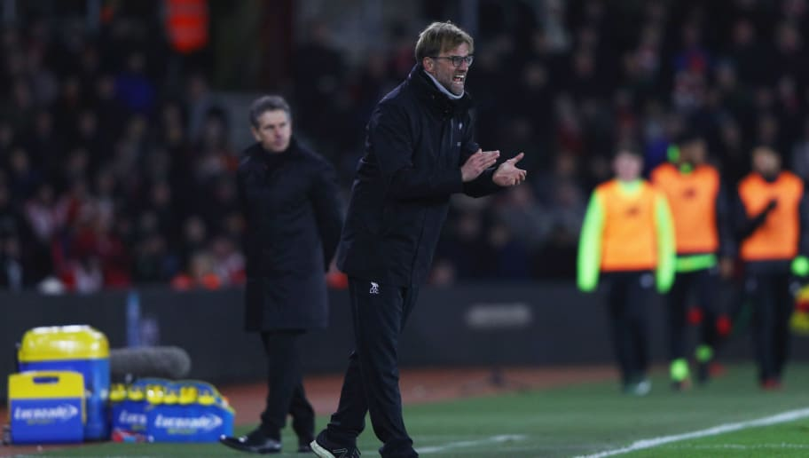 SOUTHAMPTON, ENGLAND - JANUARY 11:  Jurgen Klopp manager of Liverpool shouts on the touchline during the EFL Cup semi-final first leg match between Southampton and Liverpool at St Mary's Stadium on January 11, 2017 in Southampton, England.  (Photo by Ian Walton/Getty Images)