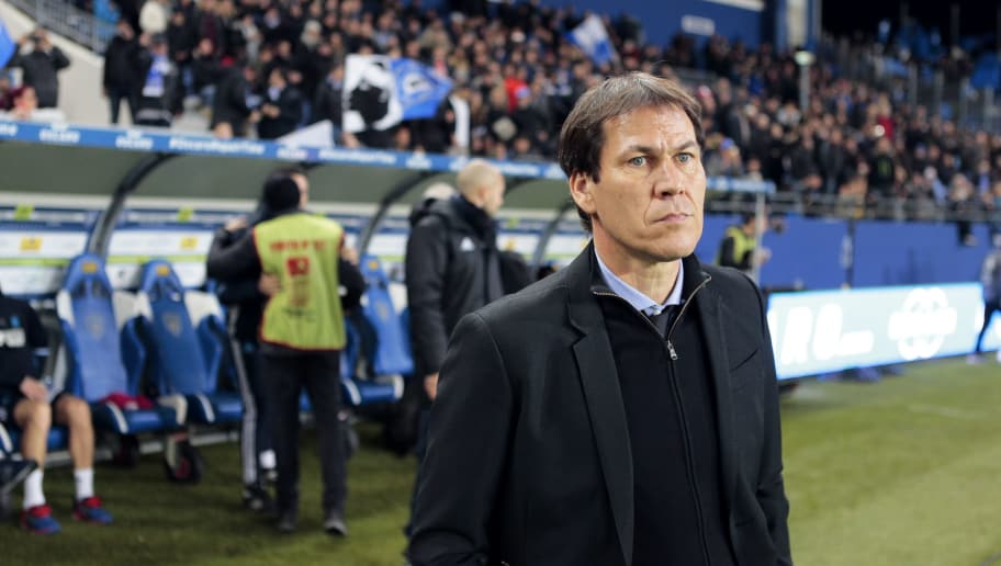 Marseille's head coach Rudi Garcia looks on  during the French L1 football match between Bastia (SCB) and Marseille (OM) on December 21, 2016, at the Armand Cesari stadium in Bastia, on the French Mediterranean island of Corsica. / AFP / PASCAL POCHARD-CASABIANCA        (Photo credit should read PASCAL POCHARD-CASABIANCA/AFP/Getty Images)
