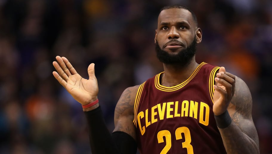 PHOENIX, AZ - JANUARY 08:  LeBron James #23 of the Cleveland Cavaliers reacts during the NBA game against the Phoenix Suns at Talking Stick Resort Arena on January 8, 2017 in Phoenix, Arizona. The Cavaliers defeated the Suns 120-116. NOTE TO USER: User expressly acknowledges and agrees that, by downloading and or using this photograph, User is consenting to the terms and conditions of the Getty Images License Agreement.  (Photo by Christian Petersen/Getty Images)