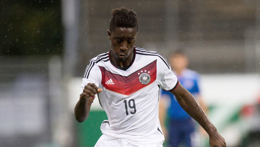 STUTTGART, GERMANY - OCTOBER 06: Prince Osei Owusu of Germany handles the ball during the U19 Mercedes-Benz Elite Cup at Gazi Stadion on October 6, 2015 in Stuttgart, Germany.  (Photo by Deniz Calagan/Bongarts/Getty Images)