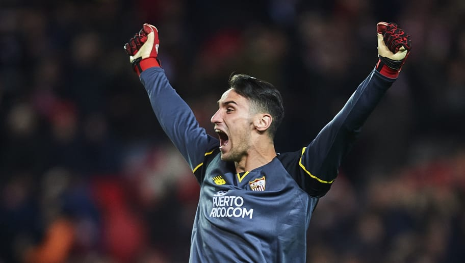 SEVILLE, SPAIN - JANUARY 15:  Sergio Rico of Sevilla FC celebrates after winning the match against Real Madrid CF during the La Liga match between Sevilla FC and Real Madrid CF at Estadio Ramon Sanchez Pizjuan on January 15, 2017 in Seville, Spain.  (Photo by Aitor Alcalde/Getty Images)