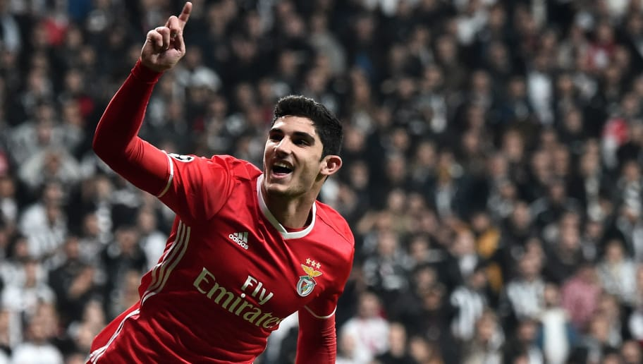 Benfica's Portuguese midfielder Gocalo Guedes celebrates after scoring a goal during the UEFA Champions League Group B football match between Besiktas Istanbul and Benfica Lisbon on November 23, 2016 at Vodafone arena in Istanbul. / AFP / OZAN KOSE        (Photo credit should read OZAN KOSE/AFP/Getty Images)