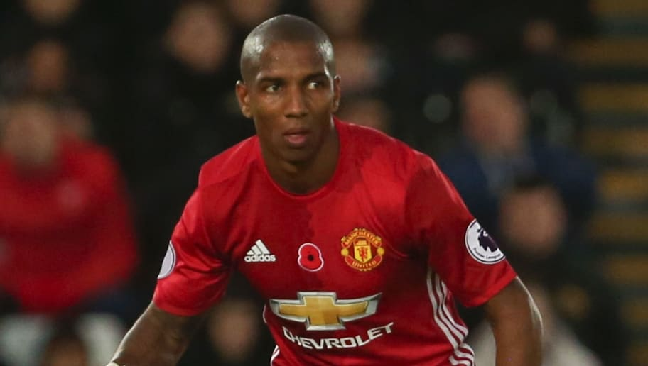 Manchester United's English midfielder Ashley Young controls the ball during the English Premier League football match between Swansea City and Manchester United at The Liberty Stadium in Swansea, south Wales on November 6, 2016. / AFP / GEOFF CADDICK / RESTRICTED TO EDITORIAL USE. No use with unauthorized audio, video, data, fixture lists, club/league logos or 'live' services. Online in-match use limited to 75 images, no video emulation. No use in betting, games or single club/league/player publications.  /         (Photo credit should read GEOFF CADDICK/AFP/Getty Images)