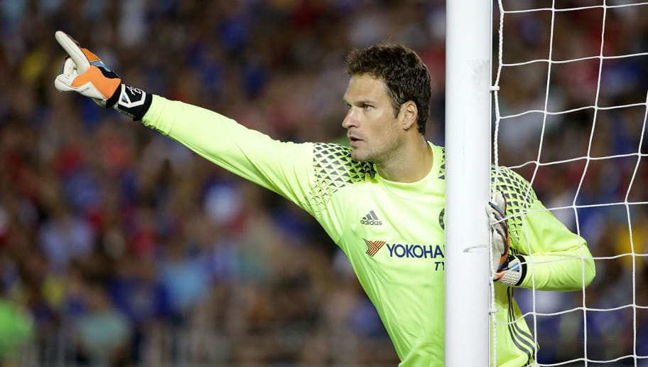 PASADENA, CA - JULY 27:  Goal keeper  Asmir Begovic #1 of Chelsea in action against Liverpool during the 2016 International Champions Cup at Rose Bowl on July 27, 2016 in Pasadena, California.  (Photo by Jeff Gross/Getty Images)