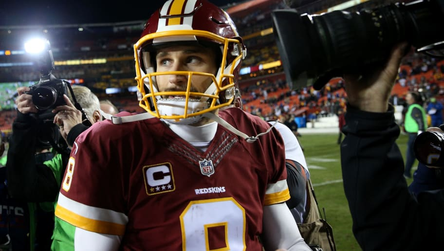 LANDOVER, MD - JANUARY 01: Quarterback Kirk Cousins #8 of the Washington Redskins looks on after the New York Giants defeated the Washington Redskins 19-10 at FedExField on January 1, 2017 in Landover, Maryland. (Photo by Patrick Smith/Getty Images)