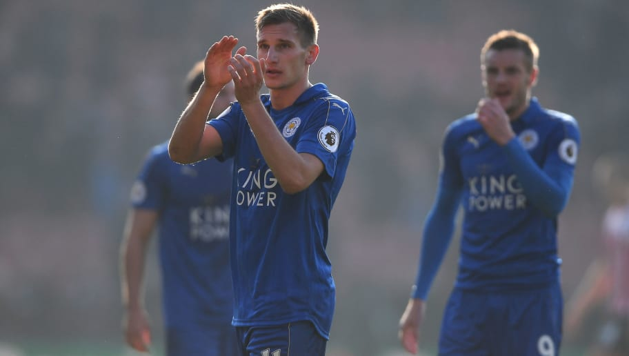 SOUTHAMPTON, ENGLAND - JANUARY 22:  Marc Albrighton of Leicester City applauds away supporters after his team's defeat in the Premier League match between Southampton and Leicester City at St Mary's Stadium on January 22, 2017 in Southampton, England.  (Photo by Mike Hewitt/Getty Images)