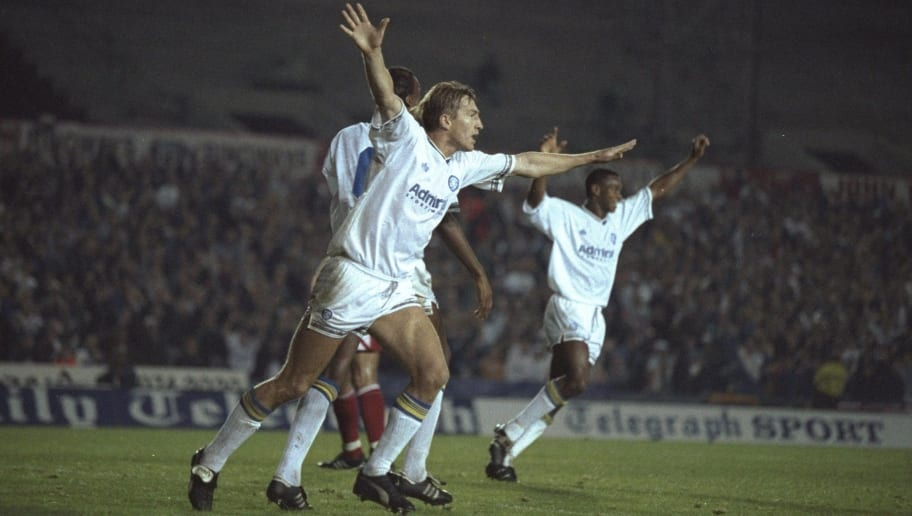 1992:  Lee Chapman (left) of Leeds celebrates scoring their fourth goal during the European Cup first round second leg match against Stuttgart at Elland Road in Leeds, England. Leeds won the match 4-1. \ Mandatory Credit: Mike  Hewitt/Allsport