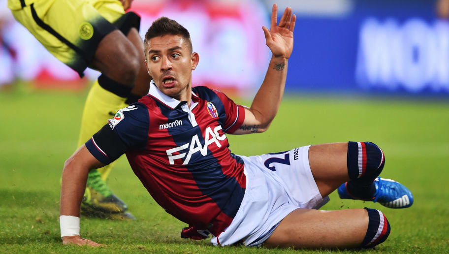 Bologna's forward Mounier Anthony reacts during the Serie A football match Bologna vs InterMilan at Dall'Ara stadium in Bologna on October 27, 2015.     / AFP / VINCENZO PINTO        (Photo credit should read VINCENZO PINTO/AFP/Getty Images)