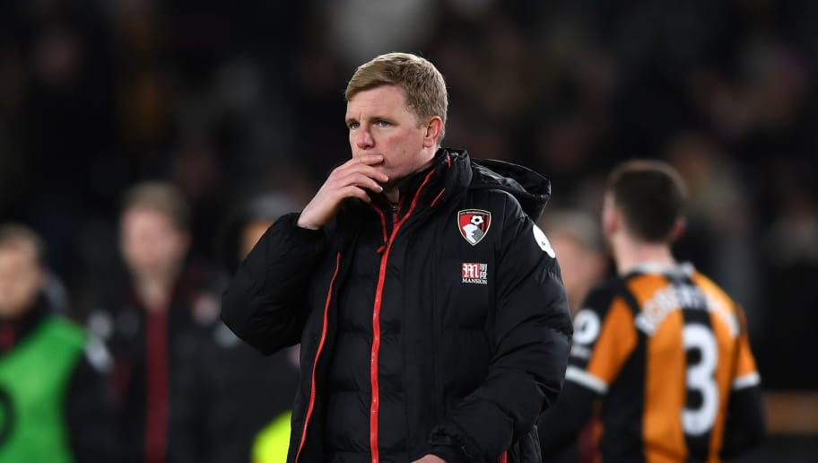 HULL, ENGLAND - JANUARY 14: Eddie Howe, Manager of AFC Bournemouh  reacts after the Premier League match between Hull City and AFC Bournemouth at KCOM Stadium on January 14, 2017 in Hull, England.  (Photo by Gareth Copley/Getty Images)