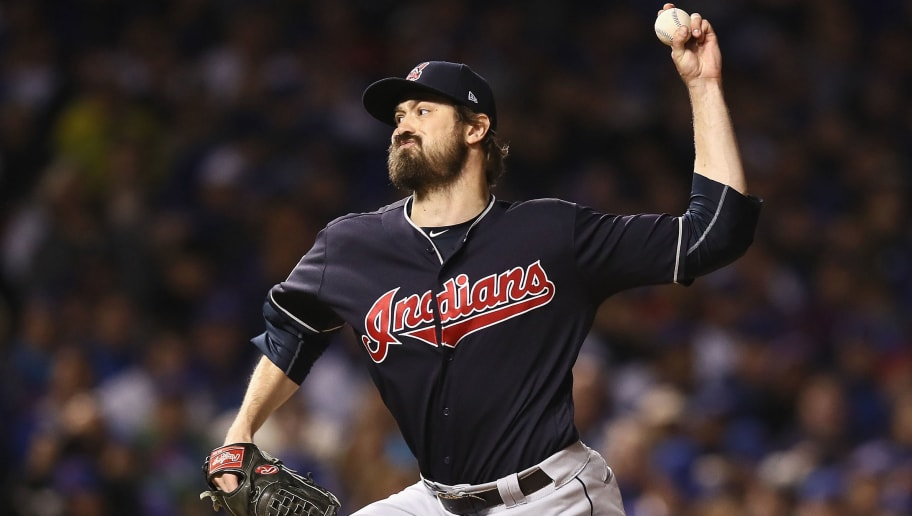 CHICAGO, IL - OCTOBER 29:  Andrew Miller #24 of the Cleveland Indians pitches in the seventh inning against the Chicago Cubs in Game Four of the 2016 World Series at Wrigley Field on October 29, 2016 in Chicago, Illinois.  (Photo by Ezra Shaw/Getty Images)