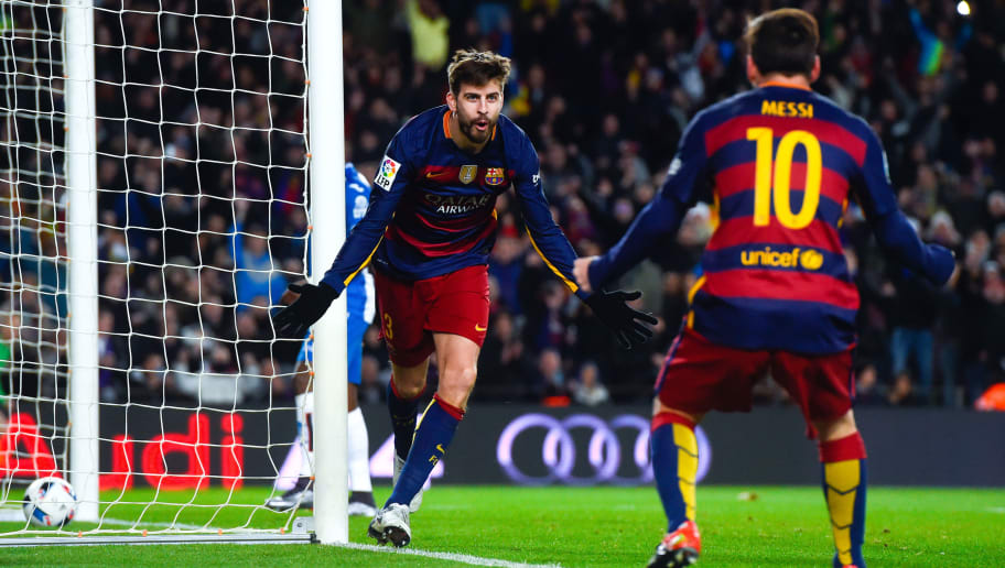 BARCELONA, SPAIN - JANUARY 06:  Gerard Pique of FC Barcelona celebrates with his teammate Lionel Messi of FC Barcelona after scoring his team's third goal during the Copa del Rey Round of 16 first leg match between FC Barcelona and RCD Espanyol at Camp Nou on January 6, 2016 in Barcelona, Spain.  (Photo by David Ramos/Getty Images)