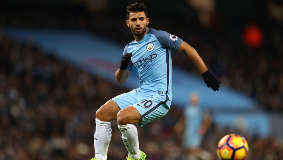 MANCHESTER, ENGLAND - JANUARY 21:  Sergio Aguero of manchester City in action during the Premier League match between Manchester City and Tottenham Hotspur at Etihad Stadium on January 21, 2017 in Manchester, England.  (Photo by Clive Mason/Getty Images)