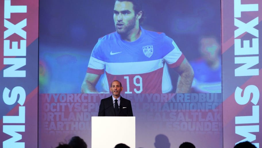 Major League Soccer (MLS) commissioner Don Garber speaks before unveiling the new MLS logo during an event in New York on September 18. 2014. MLS unveiled the new logo ahead of its 20th season. AFP PHOTO/Jewel Samad        (Photo credit should read JEWEL SAMAD/AFP/Getty Images)