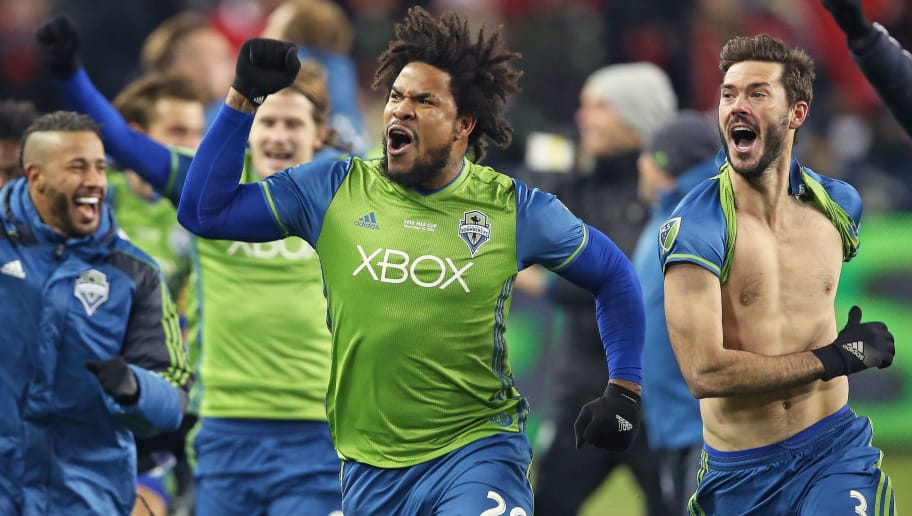 TORONTO, ONTARIO - DECEMBER 10:  Roman Torres #29 of the Seattle Sounders celebrates his championship winning goal against the Toronto FC in the 2016 MLS Cup at BMO Field on December 10, 2016 in Toronto, Ontario, Canada. Seattle defeated Toronto in the 6th round of extra time penalty kicks. (Photo: Claus Andersen/Getty Images)
