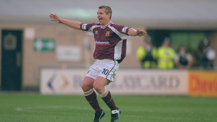 22 Aug 2000:  Marco Gabbiadini of Northampton Town celebrates during the Worthington Cup first round first leg match against Fulham at the Sixfields Stadium, in Northampton, England. Northampton Town won the match 1-0. \ Mandatory Credit: Ben Radford /Allsport