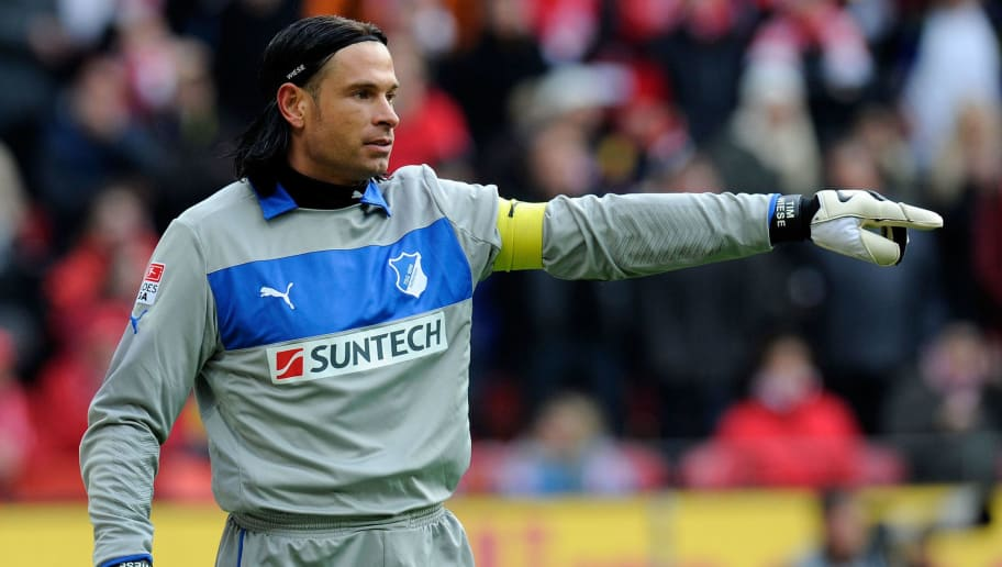 MAINZ, GERMANY - OCTOBER 27:  Goalkeeper Tim Wiese of Hoffenheim looks on during the Bundesliga match between FSV Mainz 05 and TSG 1899 Hoffenheim at Coface Arena on October 27, 2012 in Mainz, Germany.  (Photo by Thorsten Wagner/Bongarts/Getty Images)