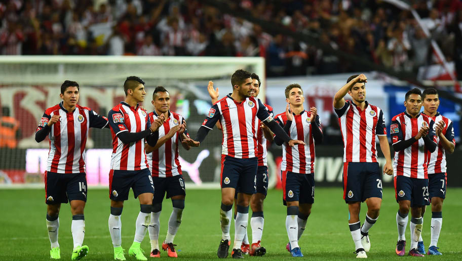 Guadalajara players celebrate after winning the game during a friendly football match against Argentina's Boca Jr club at Chivas stadium on February 2 , 2017, in Guadalajara, Mexico. / AFP / HECTOR GUERRERO        (Photo credit should read HECTOR GUERRERO/AFP/Getty Images)