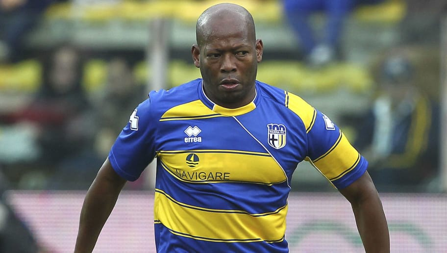 PARMA, ITALY - OCTOBER 13:  Faustino Asprilla of Stelle Gialloblu in action during the 100 Years Anniversary match between Stelle Crociate and US Stelle Gialloblu at Stadio Ennio Tardini on October 13, 2013 in Parma, Italy.  (Photo by Marco Luzzani/Getty Images)