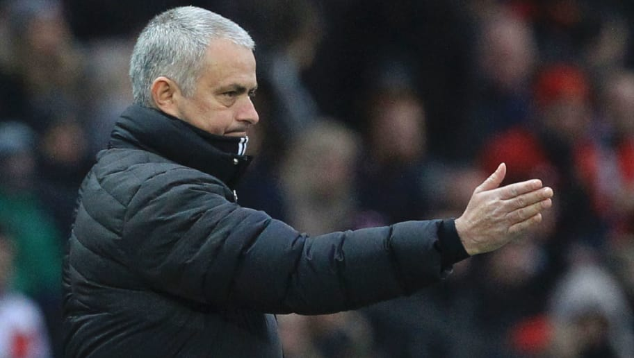 Manchester United's Portuguese manager Jose Mourinho gestures from the touchline during the English Premier League football match between Manchester United and Watford at Old Trafford in Manchester, north west England, on February 11, 2017. / AFP / Lindsey PARNABY / RESTRICTED TO EDITORIAL USE. No use with unauthorized audio, video, data, fixture lists, club/league logos or 'live' services. Online in-match use limited to 75 images, no video emulation. No use in betting, games or single club/league/player publications.  /         (Photo credit should read LINDSEY PARNABY/AFP/Getty Images)
