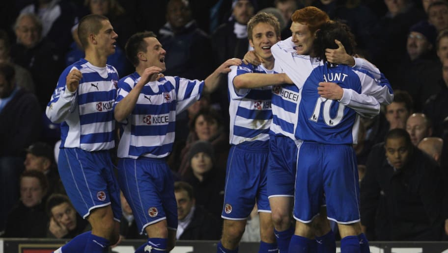 LONDON - DECEMBER 29:  Dave Kitson (2nd R)of Reading is congratulated by teammates after scoring his team's fourth goal during the Barclays Premier League match between Tottenham Hotspur and Reading at White Hart Lane on December 29, 2007 in London, England.  (Photo by Phil Cole/Getty Images)