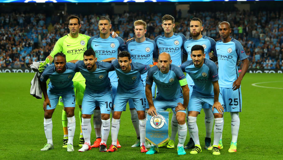 MANCHESTER, ENGLAND - SEPTEMBER 14:  Manchester City line up prior to the UEFA Champions League match between Manchester City FC and VfL Borussia Moenchengladbach at Etihad Stadium on September 14, 2016 in Manchester, England.  (Photo by Richard Heathcote/Getty Images)
