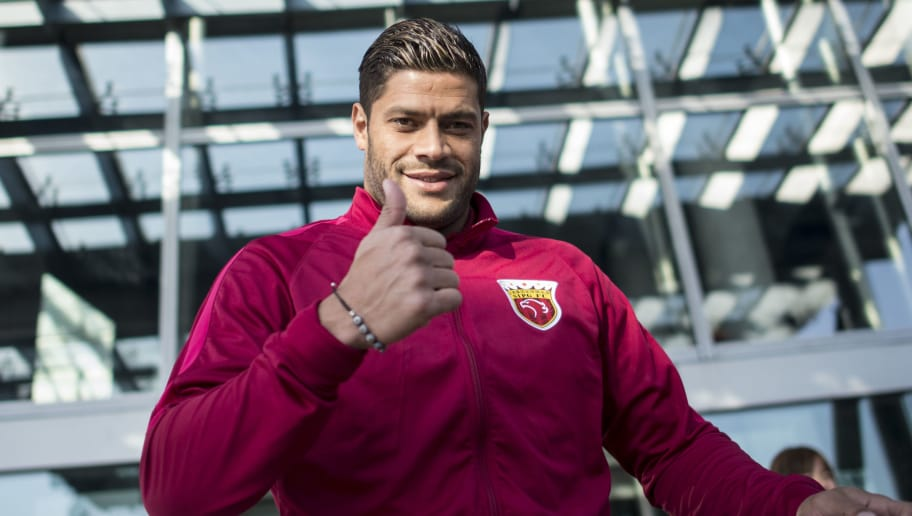 Brazilian football player Hulk of Shanghai SIPG gestures during a season launch event in Shanghai on February 13, 2017.   / AFP / Johannes EISELE        (Photo credit should read JOHANNES EISELE/AFP/Getty Images)