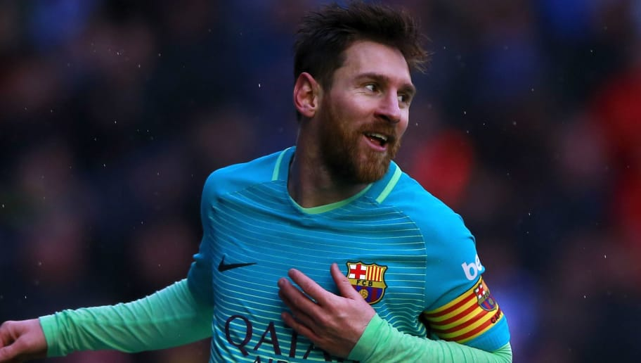 VITORIA-GASTEIZ, SPAIN - FEBRUARY 11:  Lionel Messi of FC Barcelona celebrates scoring their fourth goal during the La Liga match between Deportivo Alaves and FC Barcelona at Estadio de Mendizorroza on February 11, 2017 in Vitoria-Gasteiz, Spain.  (Photo by Gonzalo Arroyo Moreno/Getty Images)