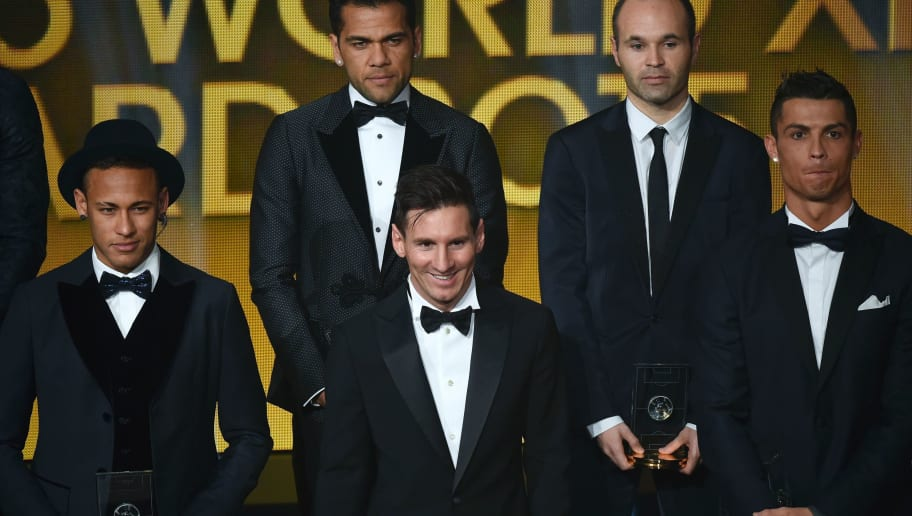 (From L) Brazil and FC Barcelona forward Neymar, Brazil and FC Barcelona defender Dani Alves, Argentina and FC Barcelona forward Lionel Messi, Spain and FC Barcelona midfielder Andres Iniesta and Portugal and Real Madrid forward Cristiano Ronaldo pose on stage  after being selected in the 2015 FIFA FIFPro World XI during the 2015 FIFA Ballon d'Or award ceremony at the Kongresshaus in Zurich on January 11, 2016. AFP PHOTO / OLIVIER MORIN / AFP / OLIVIER MORIN        (Photo credit should read OLIVIER MORIN/AFP/Getty Images)