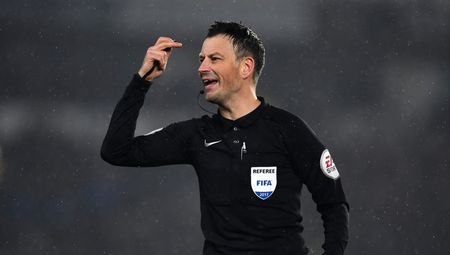 DERBY, ENGLAND - JANUARY 27:  Match Referee, Mark Clattenburg makes a decision during The Emirates FA Cup Fourth Round match between Derby County and Leicester City at iPro Stadium on January 27, 2017 in Derby, England.  (Photo by Laurence Griffiths/Getty Images)