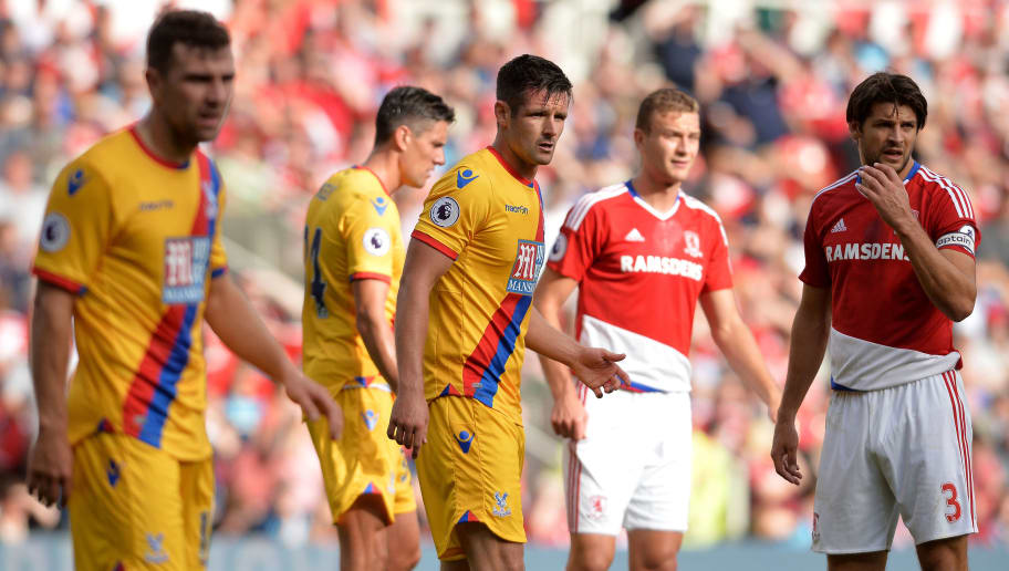 MIDDLESBROUGH, ENGLAND - SEPTEMBER 10: Scott Dan (L3) of Crystal Palace in action during the Premier League match between Middlesbrough FC and Crystal Palace FC at Riverside Stadium on September 10, 2016 in Middlesbrough, England. (Photo by Mark Runnacles/Getty Images) *** Local Caption **** Scott Dan