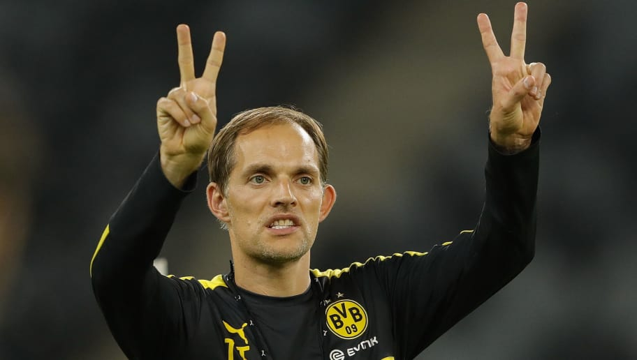 SHENZHEN, CHINA - JULY 27:  Thomas Tuchel, head coach of Dortmund gestures during team training session for 2016 International Champions Cup match between Manchester City and Borussia Dortmund at Shenzhen Universiade Stadium on July 27, 2016 in Shenzhen, China.  (Photo by Lintao Zhang/Getty Images)