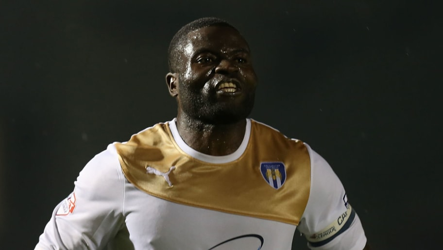 NORTHAMPTON, ENGLAND - SEPTEMBER 01:  George Elokobi of Colchester United in action during the Johnstone's Paint Trophy match between Northampton Town and Colchester United at Sixfields on September 1, 2015 in Northampton, England.  (Photo by Pete Norton/Getty Images)