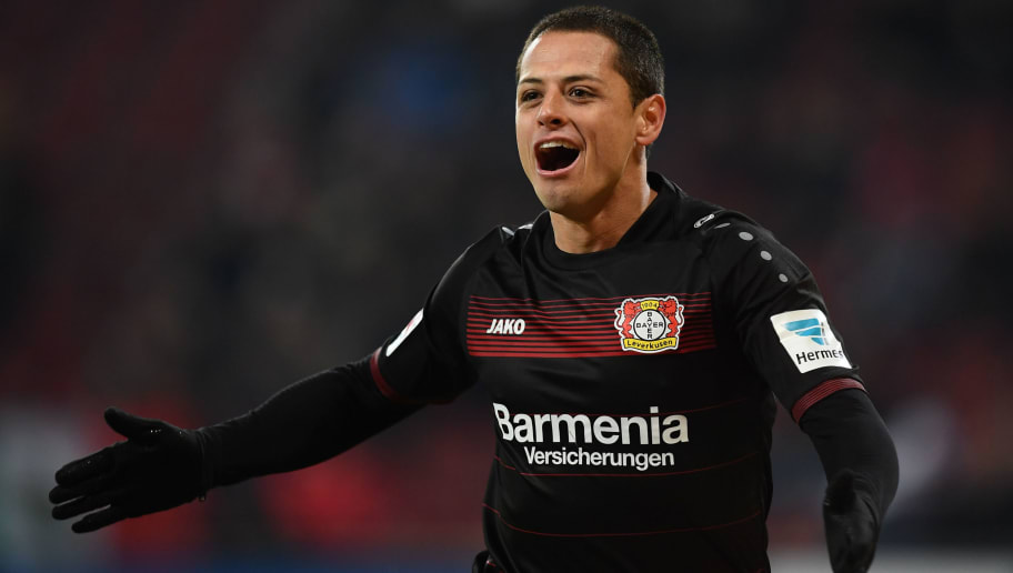 AUGSBURG, GERMANY - FEBRUARY 17:  Javier Hernandez of Leverkusen celebrates scoring the third goal during the Bundesliga match between FC Augsburg and Bayer 04 Leverkusen at WWK Arena on February 17, 2017 in Augsburg, Germany.  (Photo by Matthias Hangst/Bongarts/Getty Images)