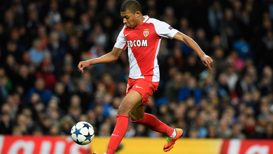 MANCHESTER, ENGLAND - FEBRUARY 21:  AS Monaco striker Kylian Mbappe in action during the UEFA Champions League Round of 16 first leg match between Manchester City FC and AS Monaco at Etihad Stadium on February 21, 2017 in Manchester, United Kingdom.  (Photo by Stu Forster/Getty Images)