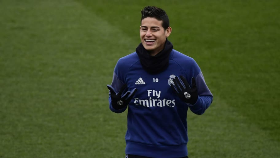 Real Madrid's Colombian midfielder James Rodriguez attends a training session at Valdebebas Sport City in Madrid on February 10, 2017 on the eve of their Liga football match against Osasuna. / AFP / PIERRE-PHILIPPE MARCOU        (Photo credit should read PIERRE-PHILIPPE MARCOU/AFP/Getty Images)