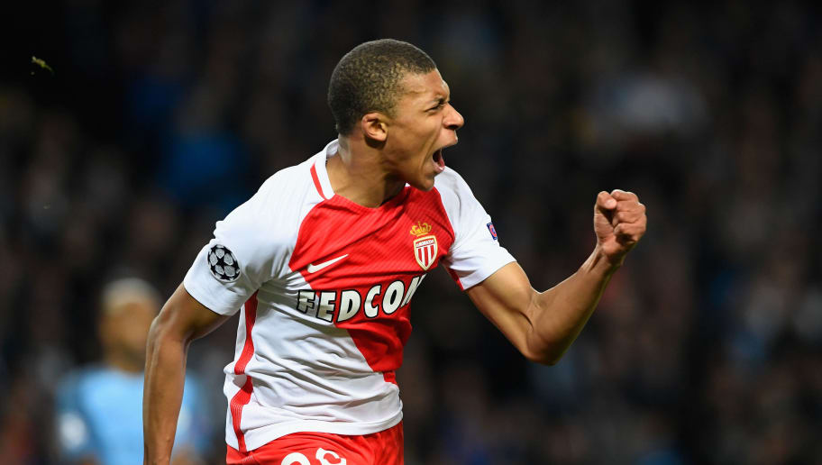 MANCHESTER, ENGLAND - FEBRUARY 21:  Kylian Mbappe of AS Monaco celebrates as he scores their second goal during the UEFA Champions League Round of 16 first leg match between Manchester City FC and AS Monaco at Etihad Stadium on February 21, 2017 in Manchester, United Kingdom.  (Photo by Stu Forster/Getty Images)