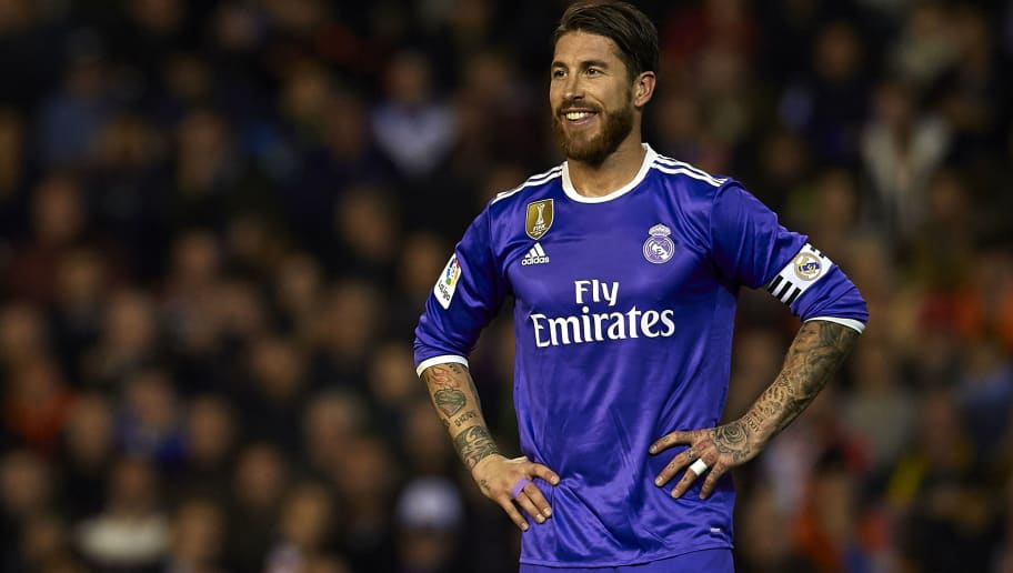 VALENCIA, SPAIN - FEBRUARY 22:  Sergio Ramos of Real Madrid reacts during the La Liga match between Valencia CF and Real Madrid at Mestalla Stadium on February 22, 2017 in Valencia, Spain.  (Photo by Manuel Queimadelos Alonso/Getty Images)