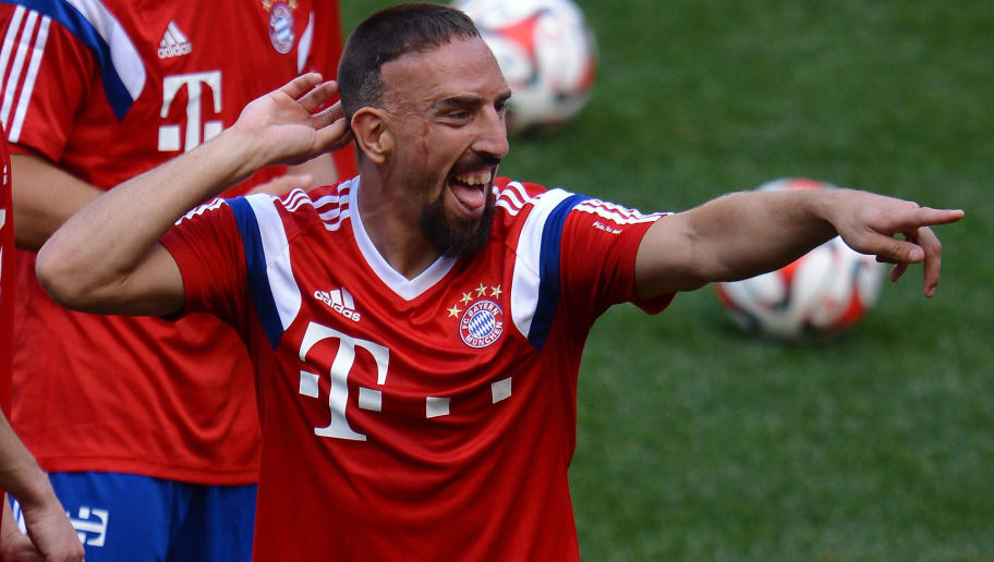 NEW JERSEY, UNITED STATES - JULY 30: Franck Ribery smiles during a training session at day one of the Audi Summer Tour 2014 at Red Bull Arena on July 30, 2014 in New Jersey, United States.  (Photo by Lars Baron/Bongarts/Getty Images)