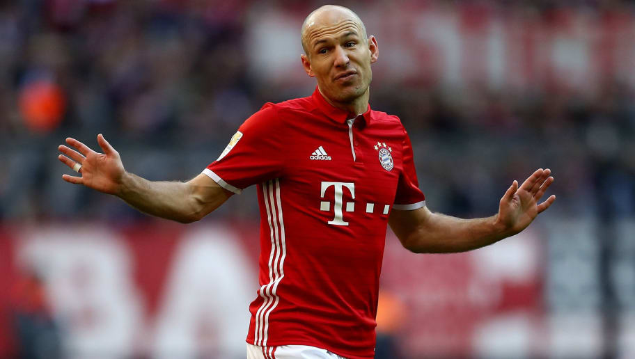 MUNICH, GERMANY - FEBRUARY 25:  Arjen Robben of Bayern Muenchen reacts during the Bundesliga match between Bayern Muenchen and Hamburger SV at Allianz Arena on February 25, 2017 in Munich, Germany.  (Photo by Lars Baron/Bongarts/Getty Images)
