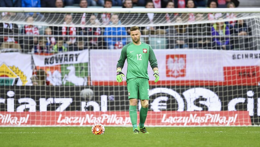 WROCLAW, POLAND - MARCH 26: Goalkeeper Artur Boruc of Poland controls the ball during the international friendly soccer match between Poland and Finland at the Municipal Stadium on March 26, 2016 in Wroclaw, Poland. (Photo by Adam Nurkiewicz/Getty Images)