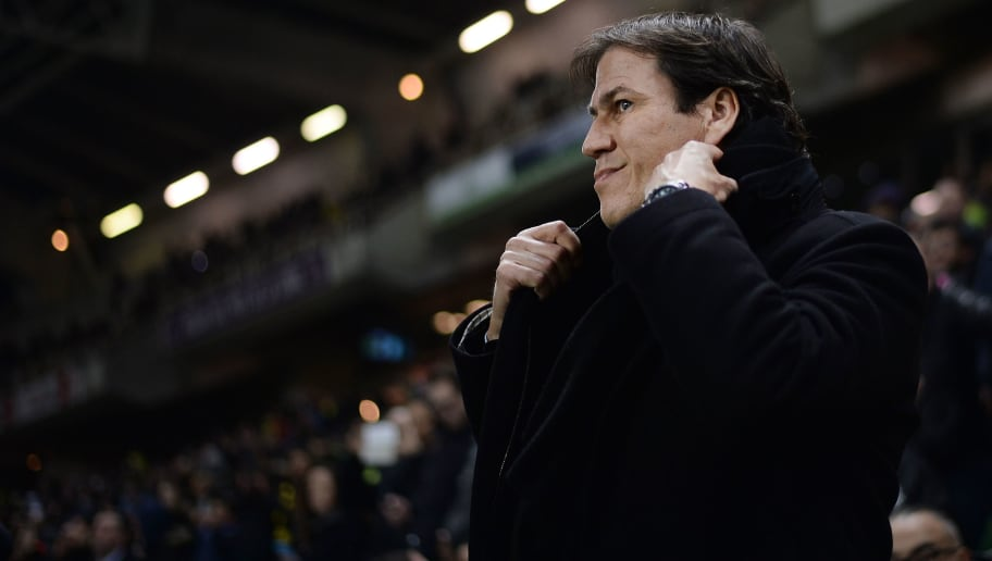 Olympique de Marseille's French head coach Rudi Garcia reacts during the French L1 football match between Nantes and Marseille at Beaujoire Stadium in Nantes, western France, on February 12, 2017. / AFP / JEAN-SEBASTIEN EVRARD        (Photo credit should read JEAN-SEBASTIEN EVRARD/AFP/Getty Images)