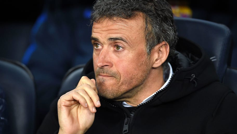 Barcelona's coach Luis Enrique looks on before the Spanish league football match FC Barcelona vs Real Sporting de Gijon at the Camp Nou stadium in Barcelona on March 1, 2017. / AFP PHOTO / LLUIS GENE        (Photo credit should read LLUIS GENE/AFP/Getty Images)